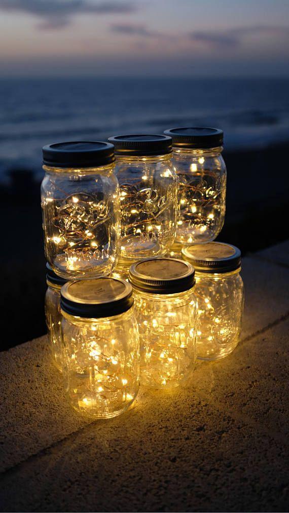 Firefly Lights and Mason Jar, Outdoor Lightning, rustic, Fairy Lights, Mason Jar Lights, Stri...