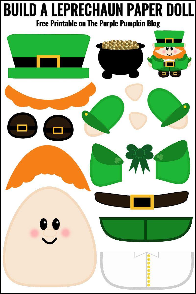 Free Printable Build A Leprechaun Paper Doll St Patricks Day