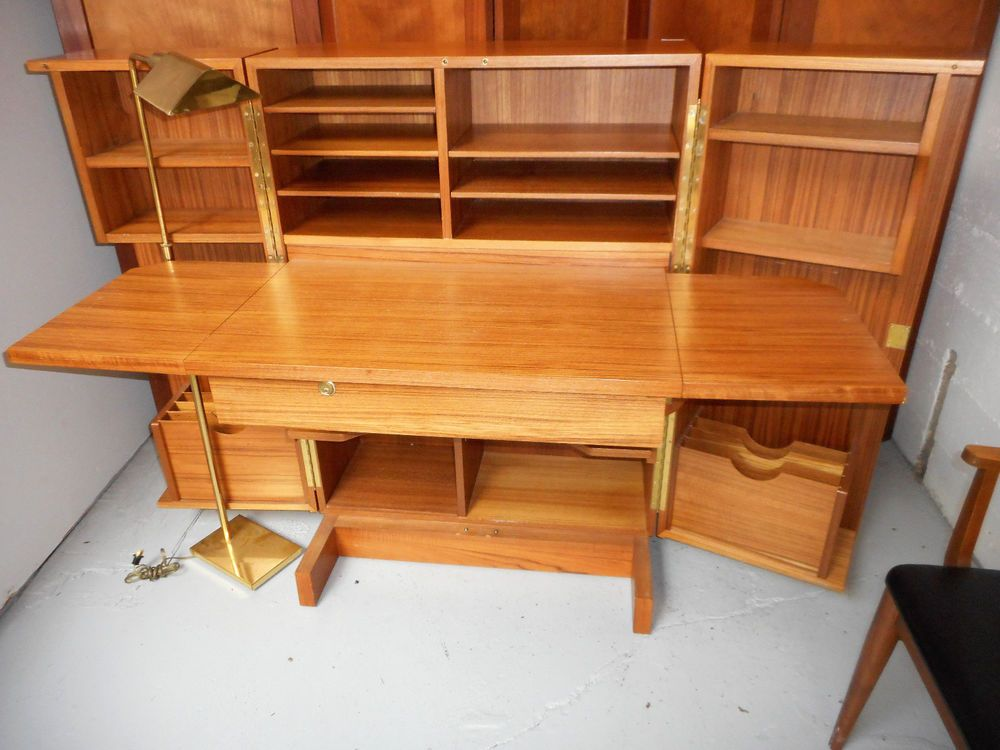 Mid century danish modern teak desk in a box folding cabinet hide away office - Teak office desk ...