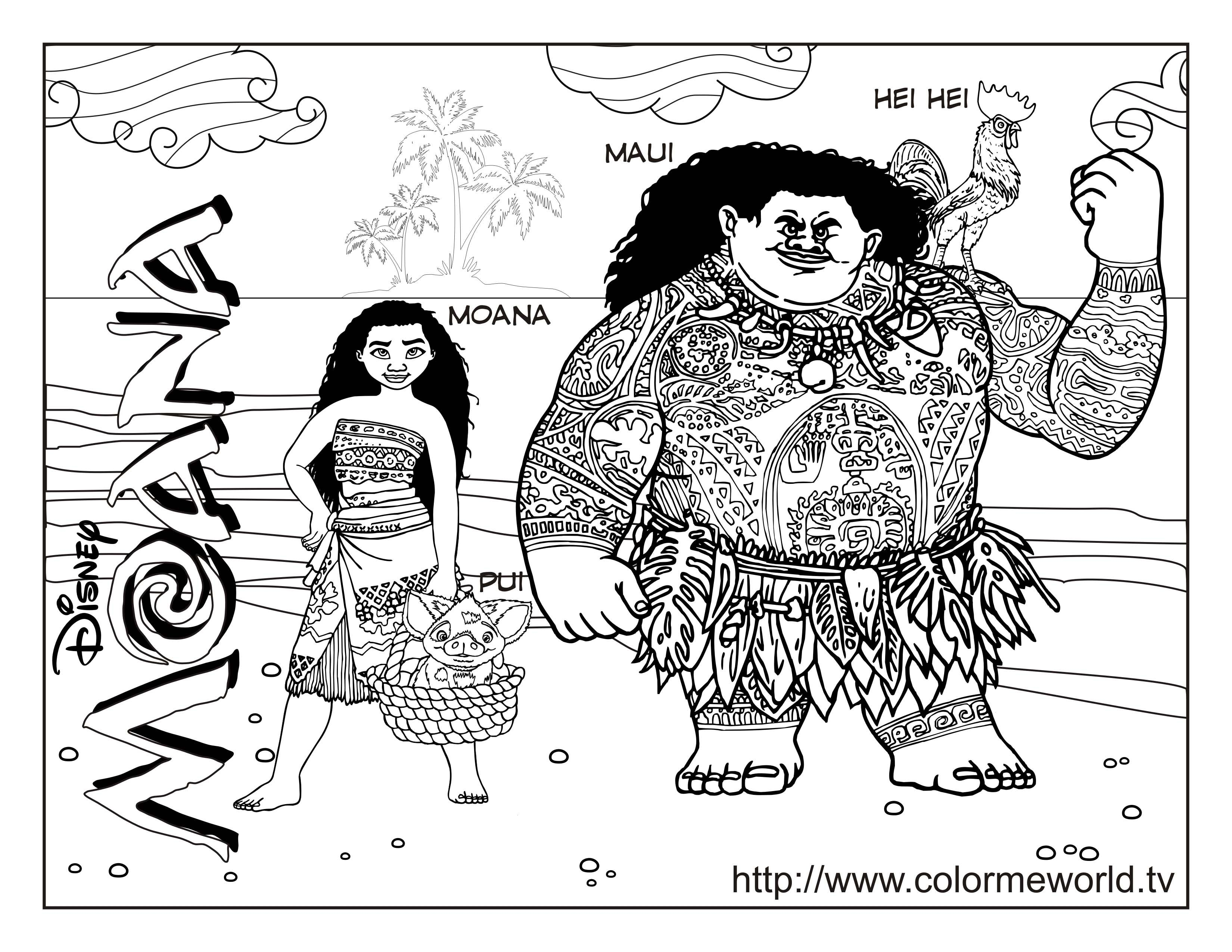 Moana Coloring Pages : Free Printable Moana PDF Coloring