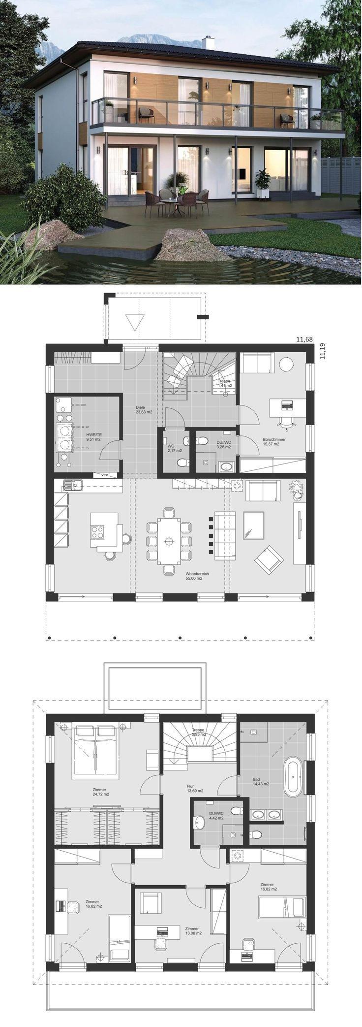 Moderne Stadtvilla im Bauhausstil mit Walmdach Baukunst & Grundriss ungeschützt mit... #modernegärten
