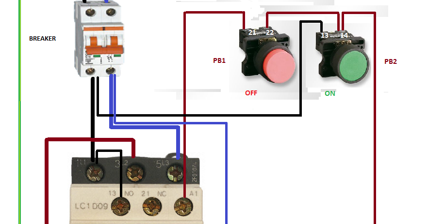 RELAY CONTACTOR WITH PUSH BUTTON ON OFF CONTROL | Relay, Push, Buttons | Push On Switch Wiring Diagram Contactor |  | Pinterest