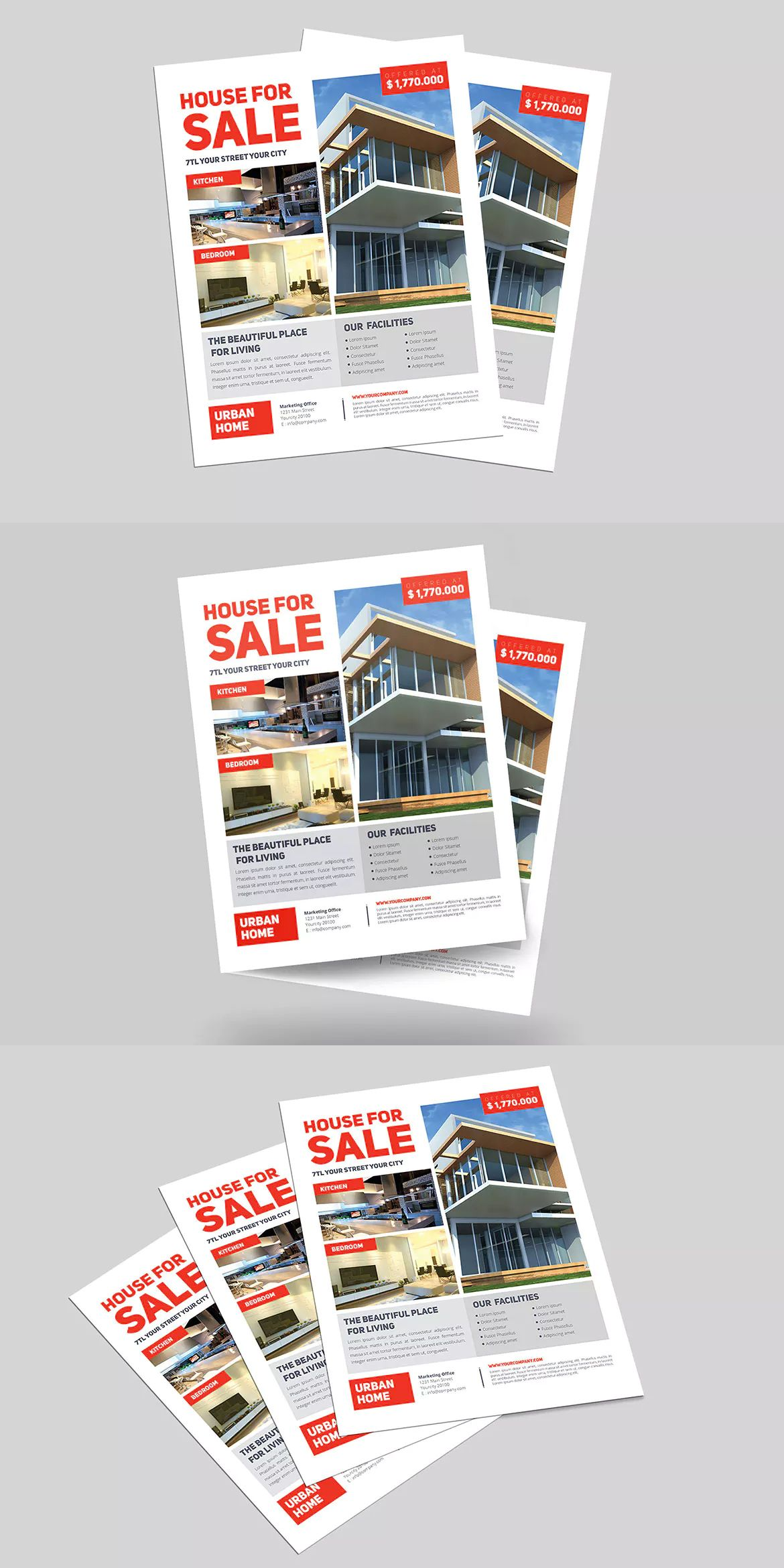 Minimal real estate flyer template ai psd us letter