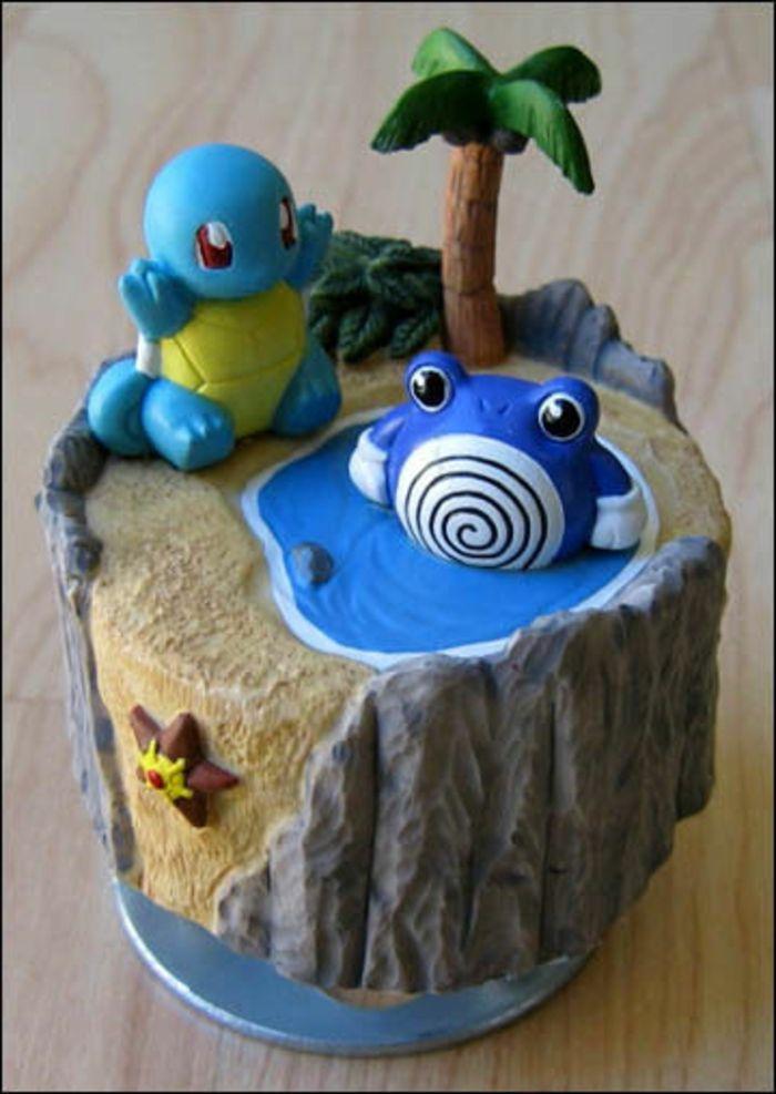 Elegant Tolle Idee Für Eine Pokemon Torte Mit Einer Palme, Zwei Blauen Pokemon  Wesen, See Und Seestern