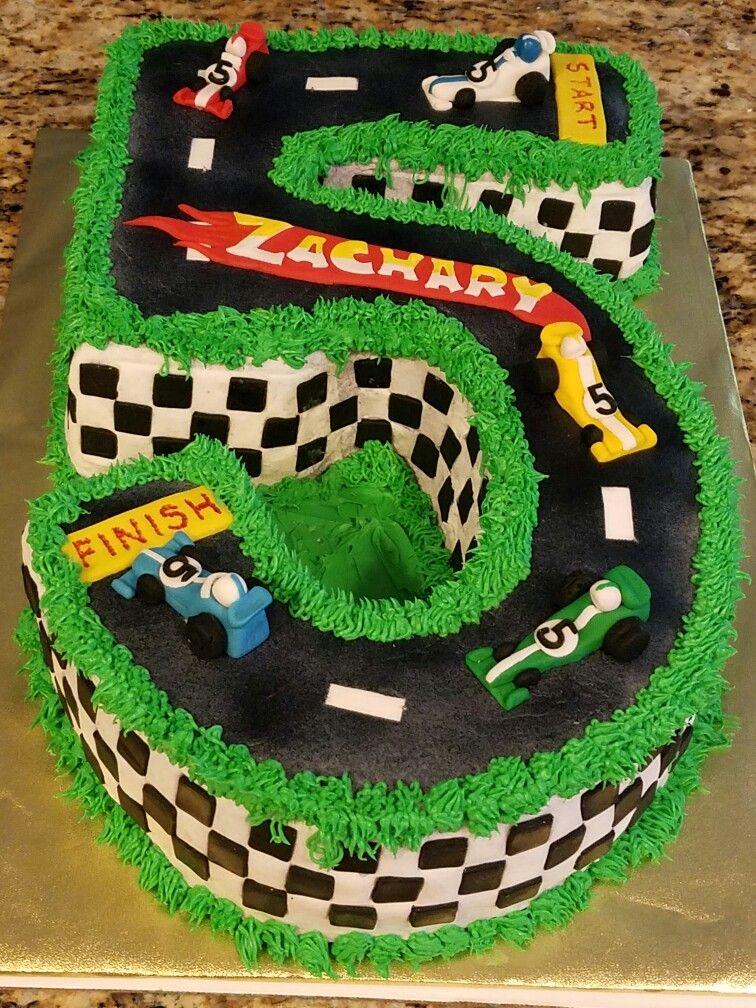 Enjoyable Hot Wheels Number 5 Racetrack Cake Cars Birthday Cake Hot Personalised Birthday Cards Akebfashionlily Jamesorg