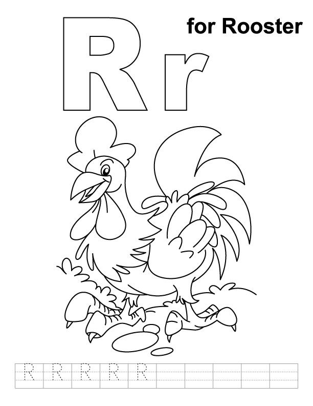 Download R For Rooster Coloring Page With Handwriting Practice Kids Handwriting Practice School Coloring Pages Coloring Pages