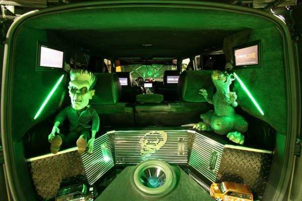 scion xb custom interior. amps audio custom interior frankenstein green lighting neon ice scion xb subwoofer t