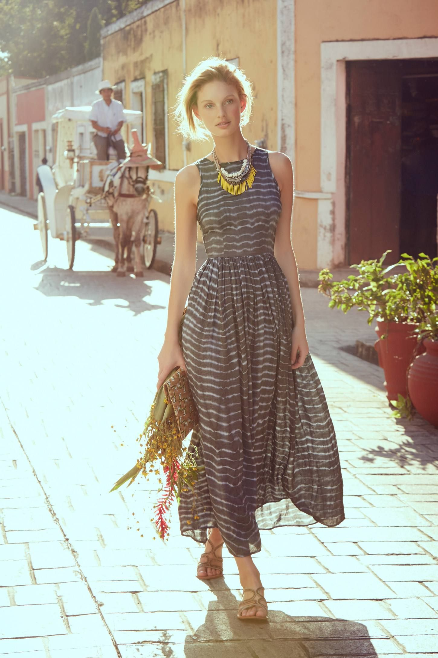 Shibori maxi dress anthropologie fashion pinterest shibori