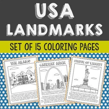 Set Of 15 Famous USA Landmarks With Informational Text Coloring Pages Or Posters