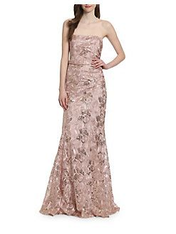 Belle Badgley Mischka Heaven Floor Length Strapless Dress