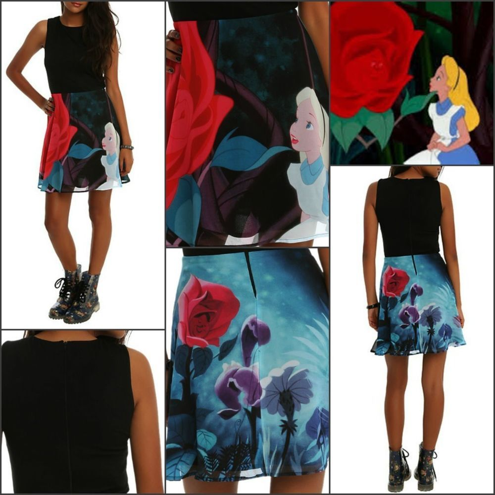 DISNEY Alice in Wonderland 'Red Roses' Fancy Layer Dress Adult Jr's Size LG NEW!