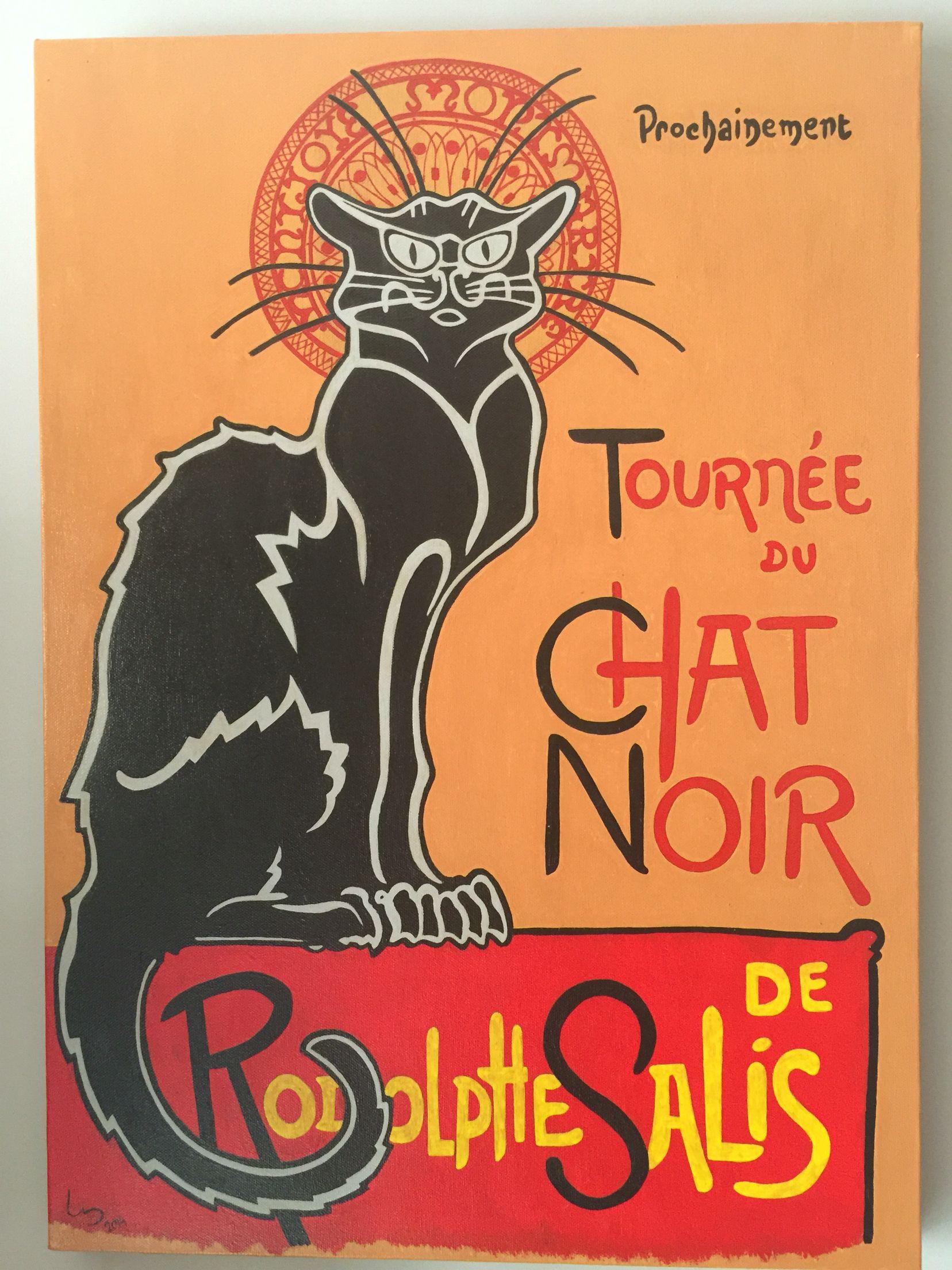 Cartel Chat Noir pintado a mano | Luis de la Fuente | Pinterest | Luis