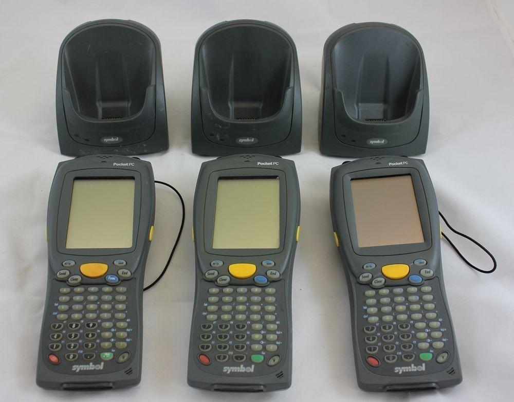 Lot Of 3 Symbol Pocket Pc Rf Scanner Unit 8100 W Cradle Charger