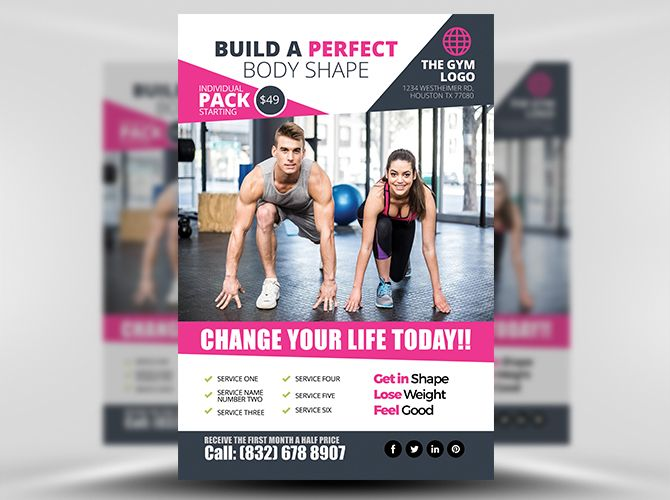 Gym Flyer Template FH 1 Projetos para experimentar Pinterest - Gym Brochure Templates