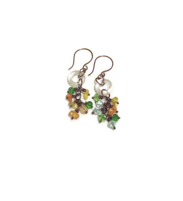 Crystal bead Cluster dangle earrings, Boho chic, Gift for her by 3rdTimeCharms on Etsy