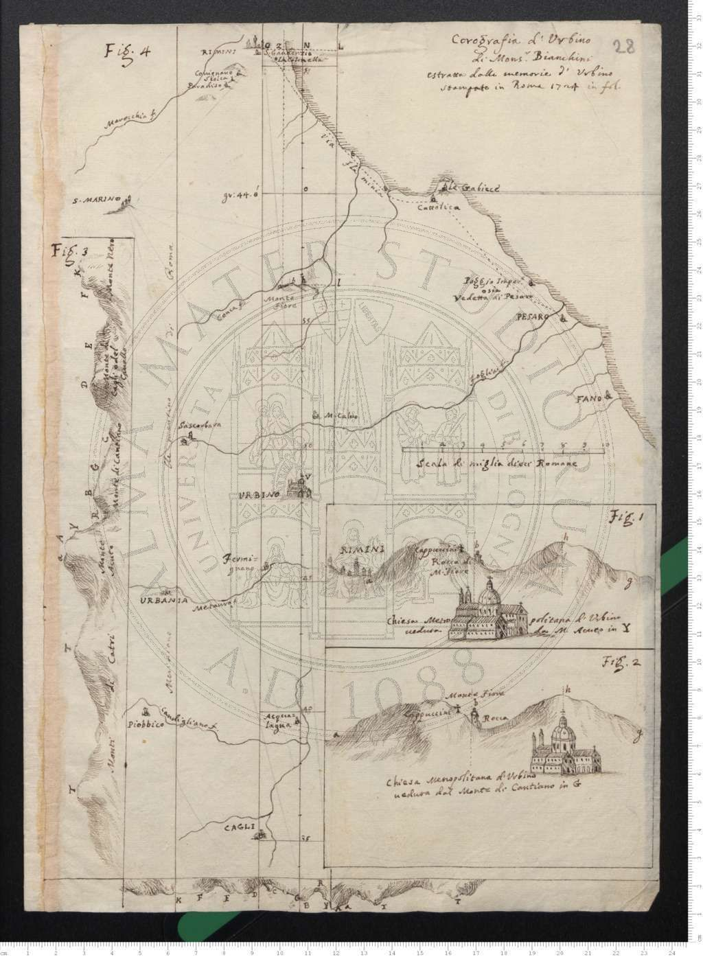 """Copia della """"Corografia d'Urbino di Mons. Bianchini"""" per la determinazione delle coordinate delle città situate nella regione attraversata dal meridiano di Roma (1735)"""