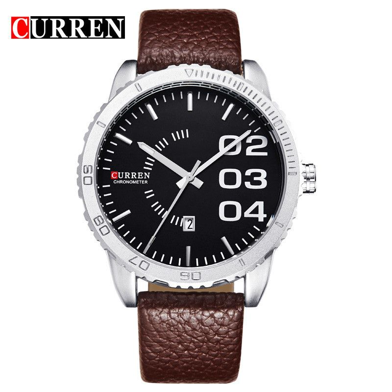 75f4fa3ae60f CURREN Brand Luxury Date Watches Men Brown Leather Strap Black Dial Fashion  Casual Watch Men Sport Quartz Waterproof WristWatch