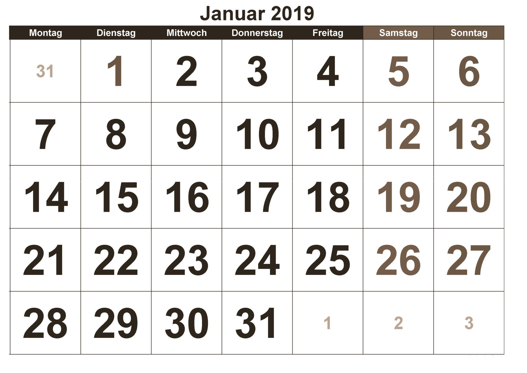 Kalender Januar 2019 Januar Pinterest