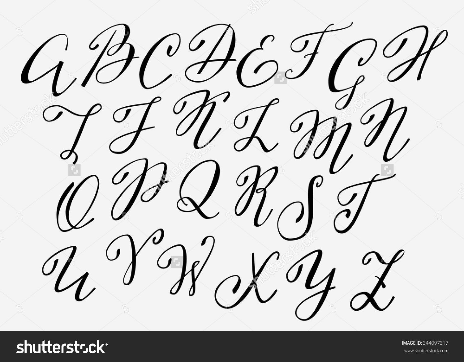Stock vector handwritten calligraphy flourish font capital
