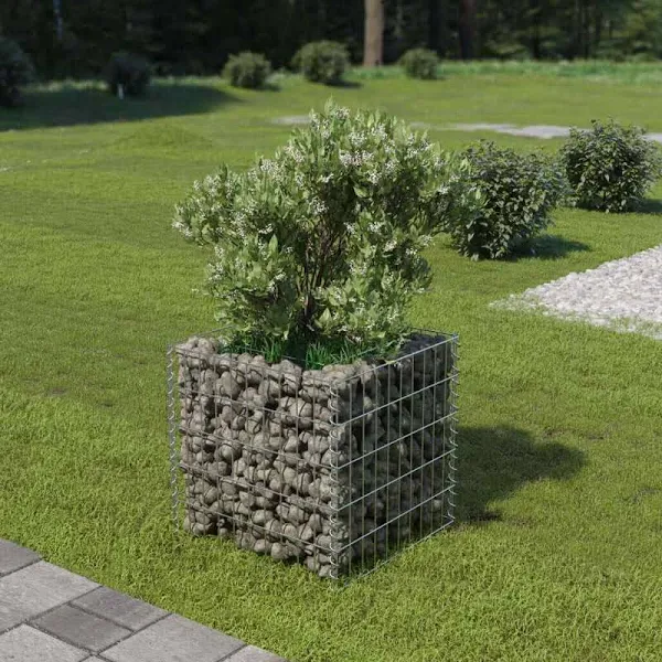 Vidaxl Gabion Planter Galvanized Steel 19 7 X19 7 X19 7 Google Shopping Gabion Basket In 2020 Landscaping With Rocks Front Yard Landscaping Raised Flower Beds