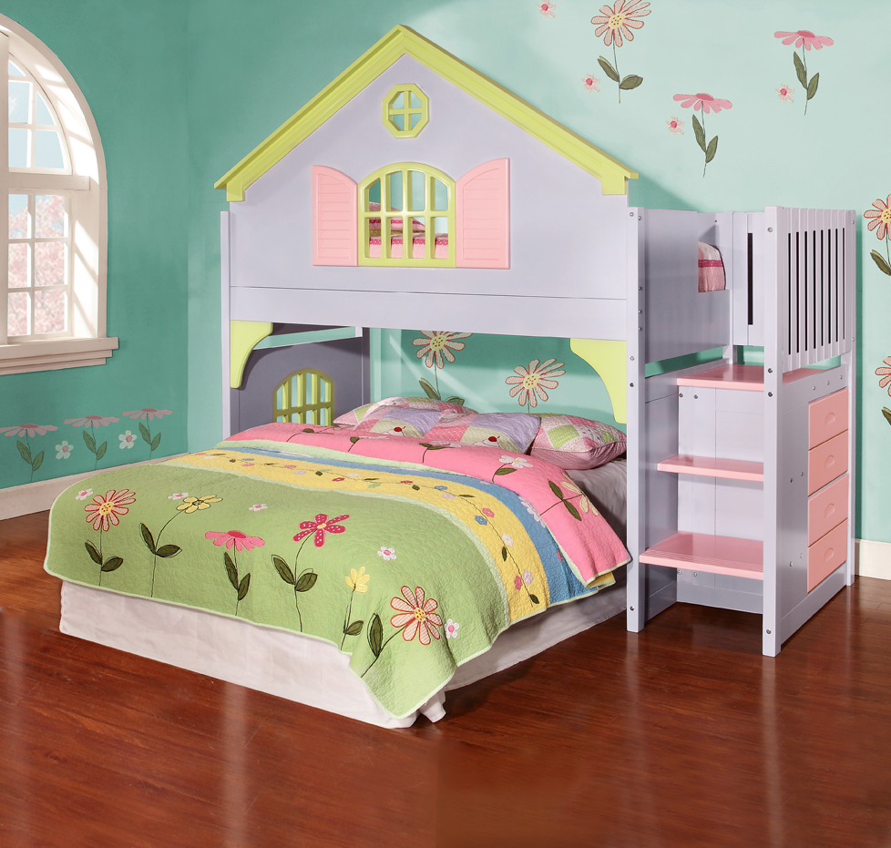 Doll House Stair Step Loft Girls loft bed, Staircase