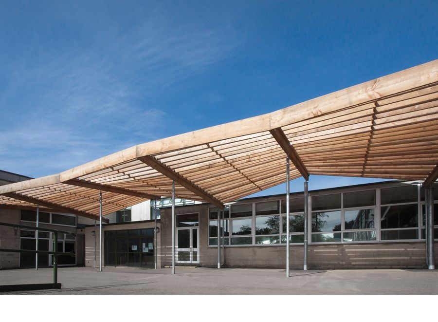School Larch Canopy and External Classroom - Feilden Fowles Architects Architecture Design Contemporary Structure Timber Canopy Larch Outdoor Shelter School ... & larch canopy at ralph allen school bath TIMBER STRUCTURE ROOF ...