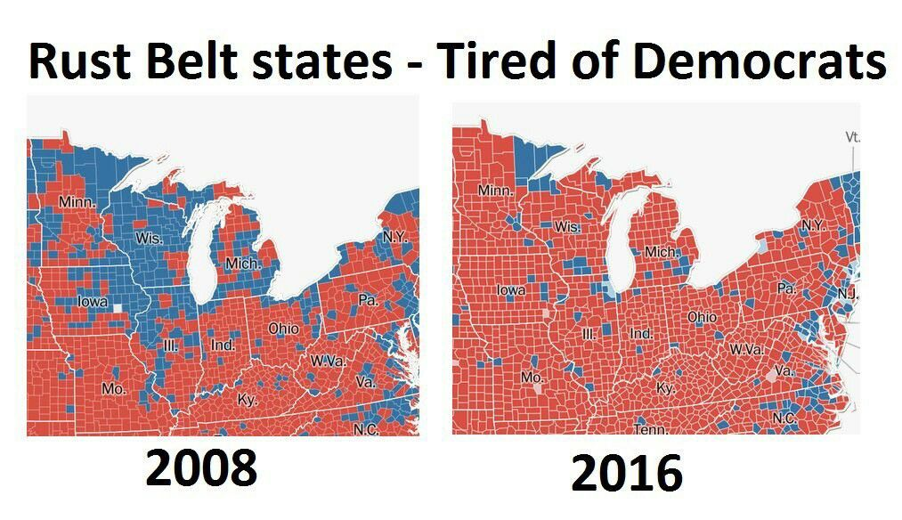 Rust Belt States Map.The Rust Belt States And All America Were Tired Of The Dnc Ruining