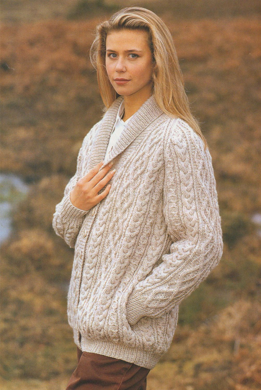 4897ae9e3 Womens Aran Raglan Jacket PDF Knitting Pattern   Ladies 32