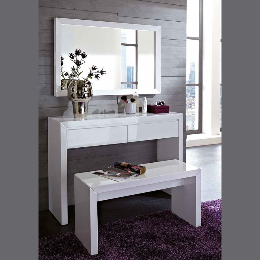 Meuble commode d 39 entr e coiffeuse blanc laqu design for Meuble commode design