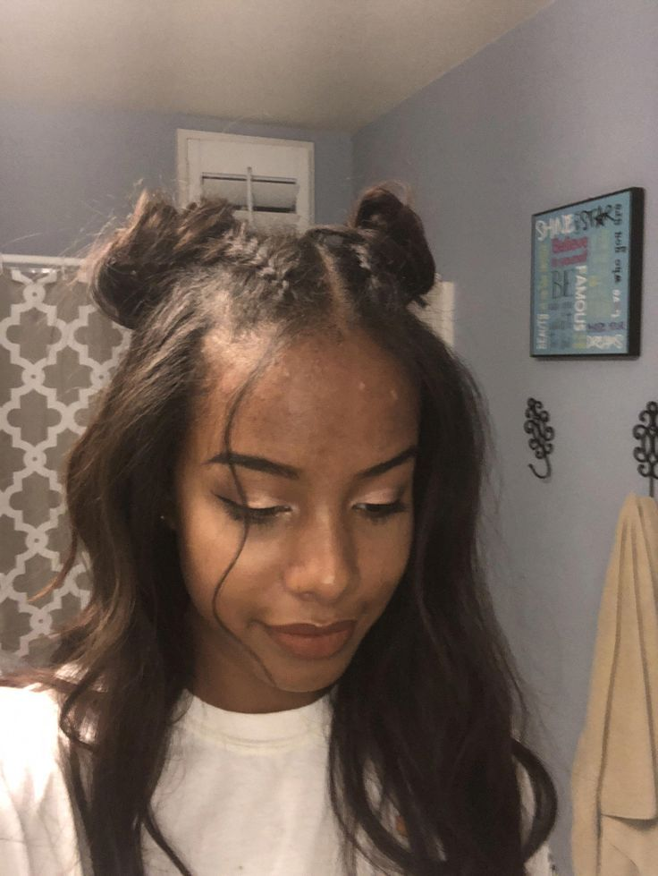 Double bun Dutch braid with curled hair half up half down #promhairstyleshalfuphalfdown #braid ...