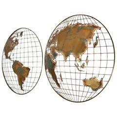 Curtis jere modernist world mapglobe sculpture furniture view this item and discover similar wall mounted sculptures for sale at wall mounted continentsworld mapglobehemispheres sculpture from c jere in gumiabroncs Gallery