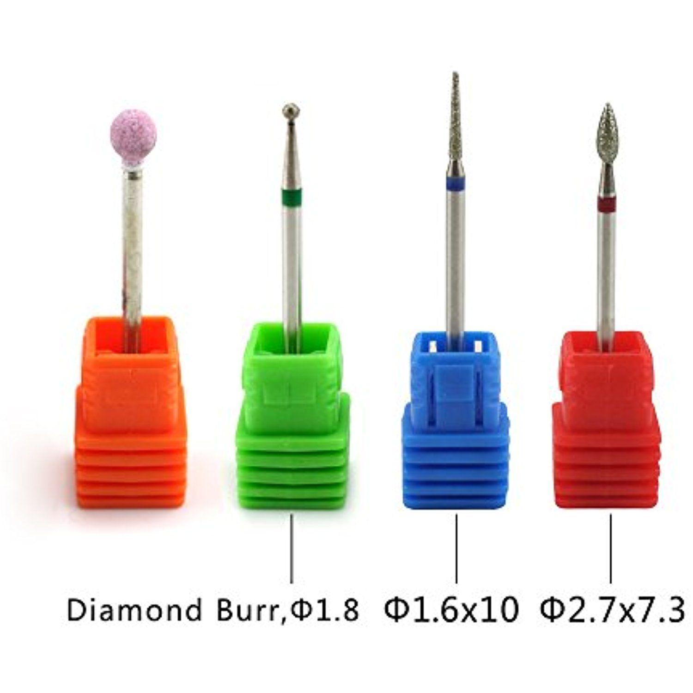 NMKL 4PCS Cuticle Clean Nail Drill Bit Set Electric Rotatory Nail ...