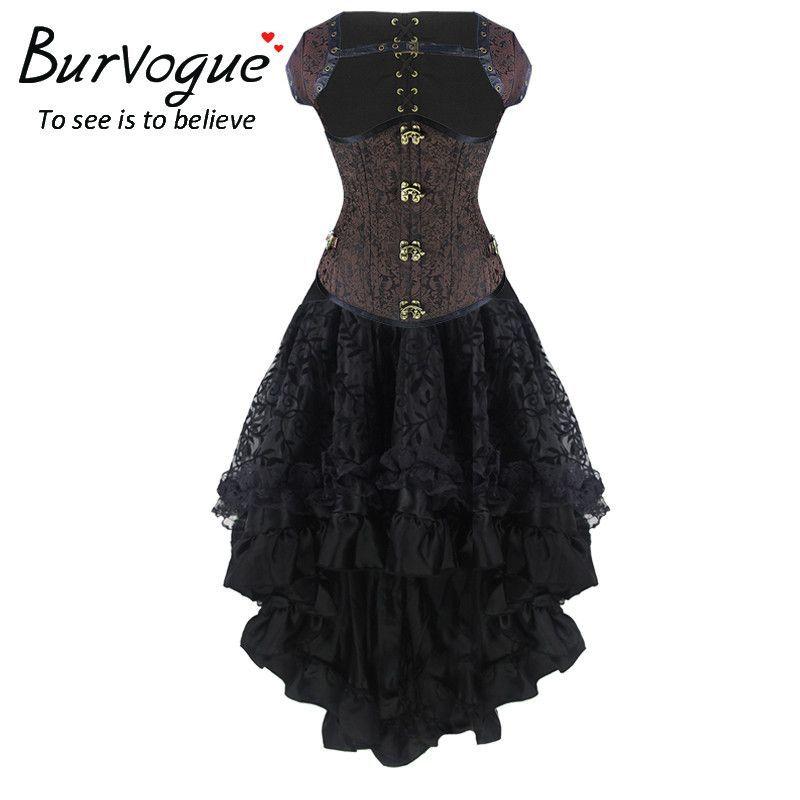 Burvogue New Sexy Steampunk Corset Dress Women High Waist Skirts and Waist Control Corset Steampunk Corset Dress Mermaid Skirt