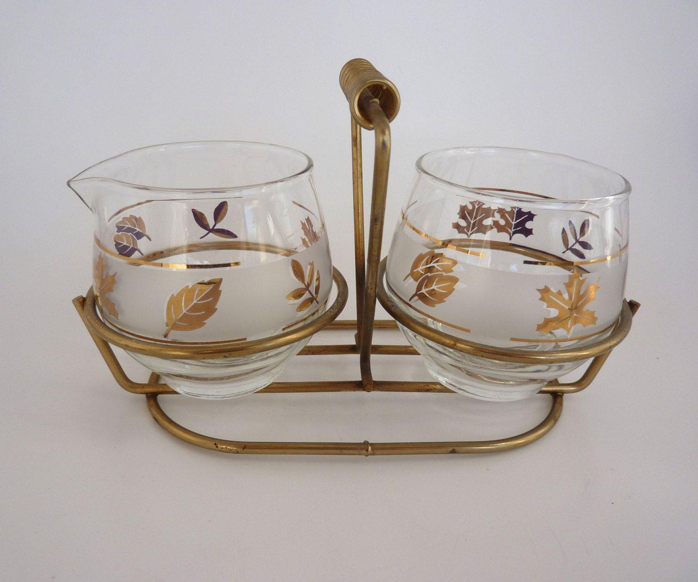 gold leaves cream sugar set 1960 s libby glassware gold leaves cream sugar set 1960 s libby glassware