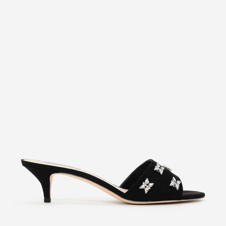 CHARLES & KEITH Black Textured Kitten Heel Sandals