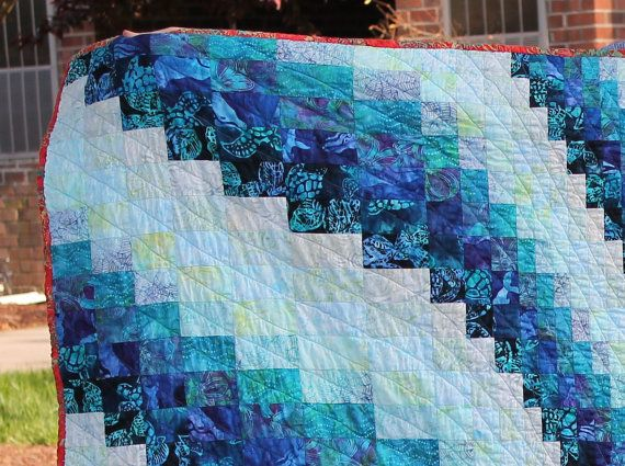 Bargello Quilt Pattern Queen Size Ocean by stickysugarstitches