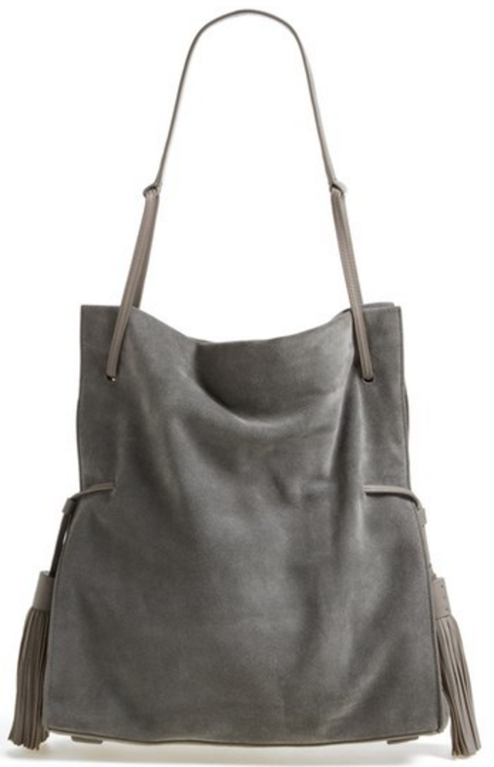 Grey suede hobo bag with tassel detail | Grey | Pinterest | Hobo bags