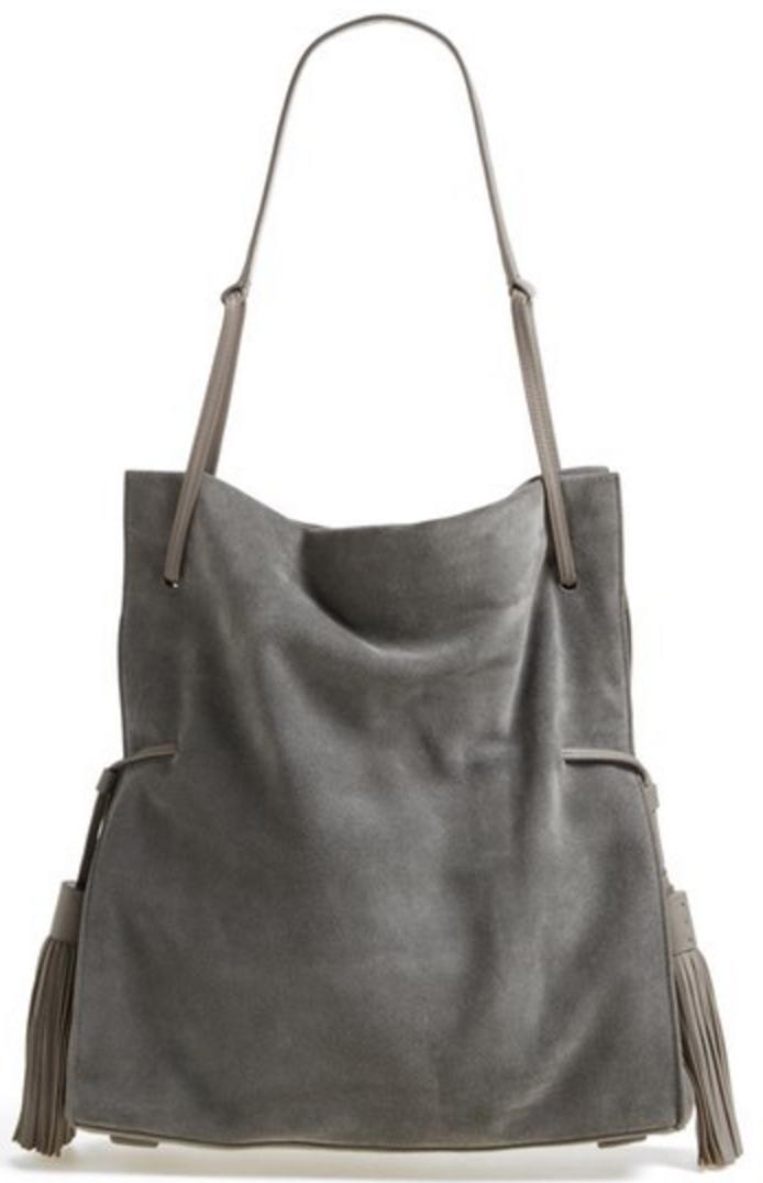 Grey Suede Hobo Bag With Tassel Detail