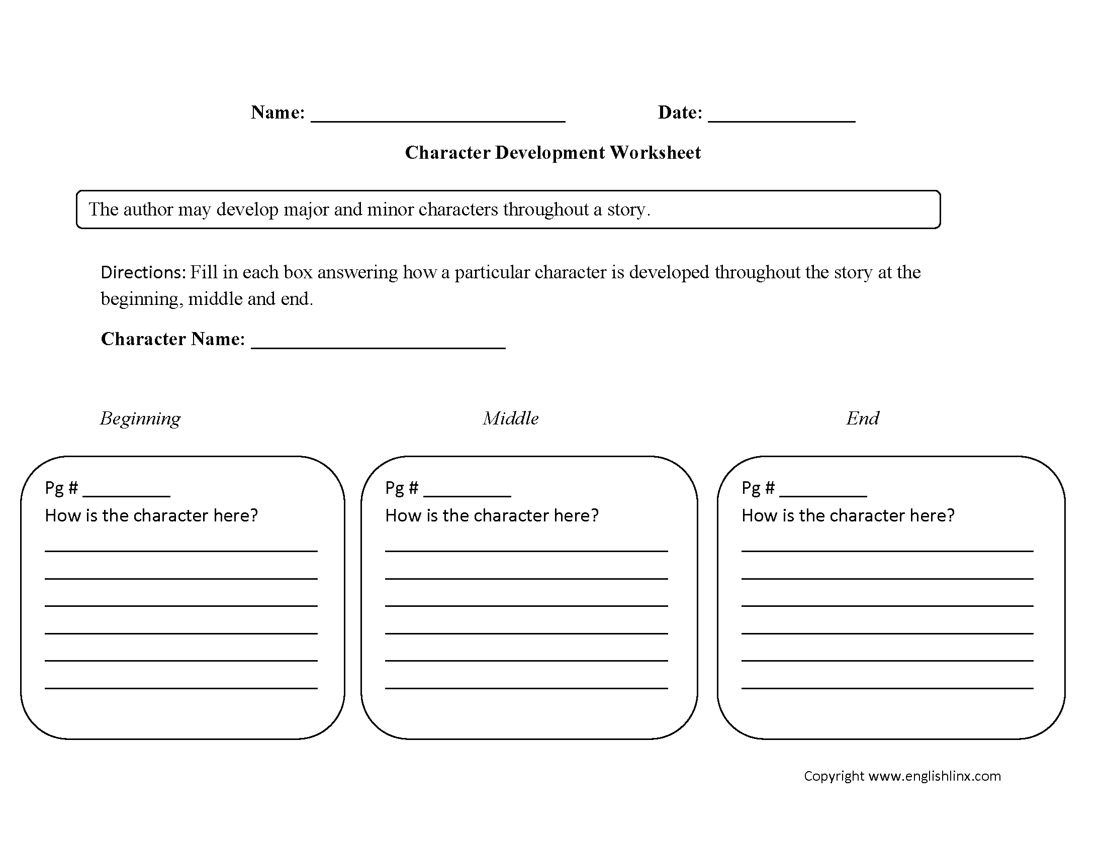 Single Character Development Characterysis Worksheets