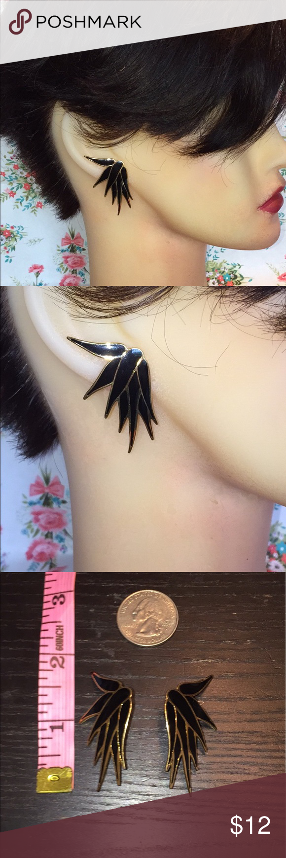 Vintage 80s earrings L Bott black gold spike Ladies had such a fun earrings and these are no exception. Gold and black spiked pierced earrings large or size studs signed L Bot. Perfect condition. Vintage Jewelry Earrings
