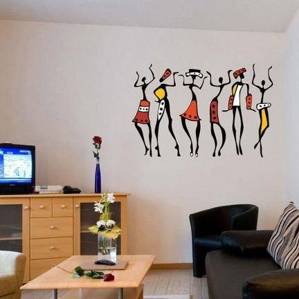 Matt Finish African Dancing Women Black Wall Sticker Art Decal