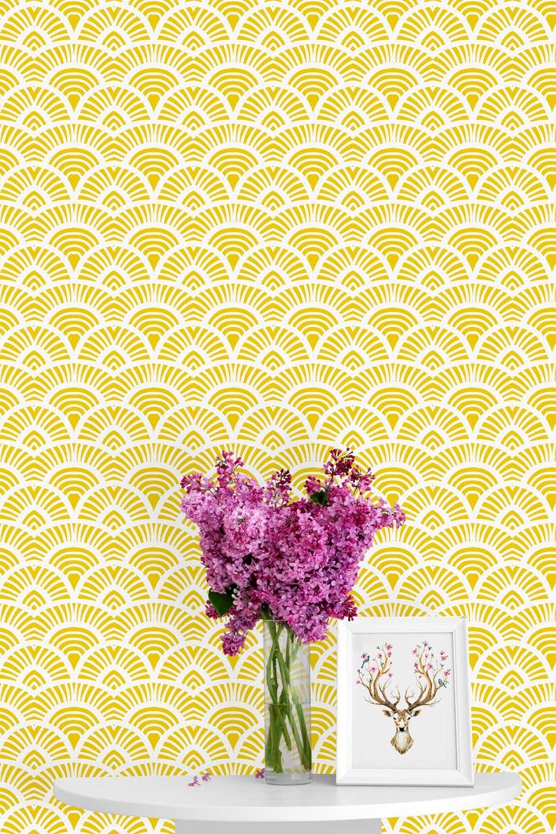 Yellow Geometric Print Removable Wallpaper Peel Stick Etsy Nursery Mural Wallpaper Mural