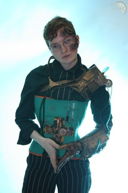 Doctor Mechanic - male steampunk corset this is weird...male corset lol ... but i think his pose is really strong so i could find an image like this