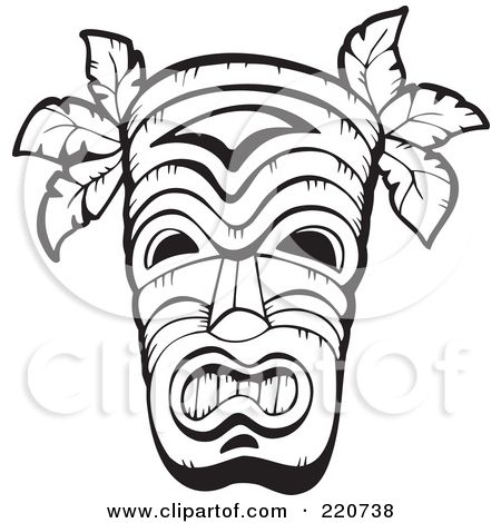 Printable Totem Pole Coloring Pages Polynesian Tiki Masks These