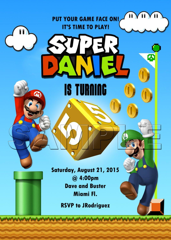 Super Mario Invitation Mario Luigi Mario Bros Birthday Mario