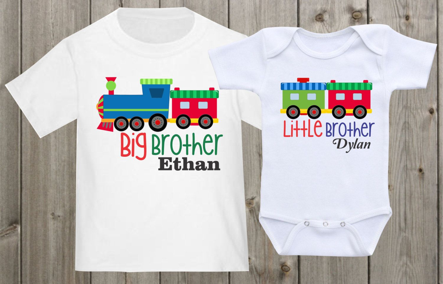 Big Brother Little Brother Shirt Set Personalized Gift for Brother Tractor