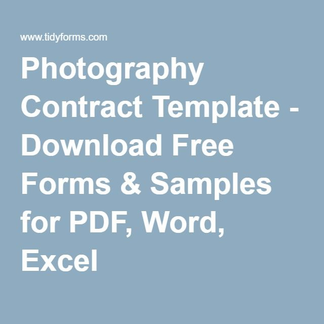 Photography Contract Template - Download Free Forms & Samples for ...