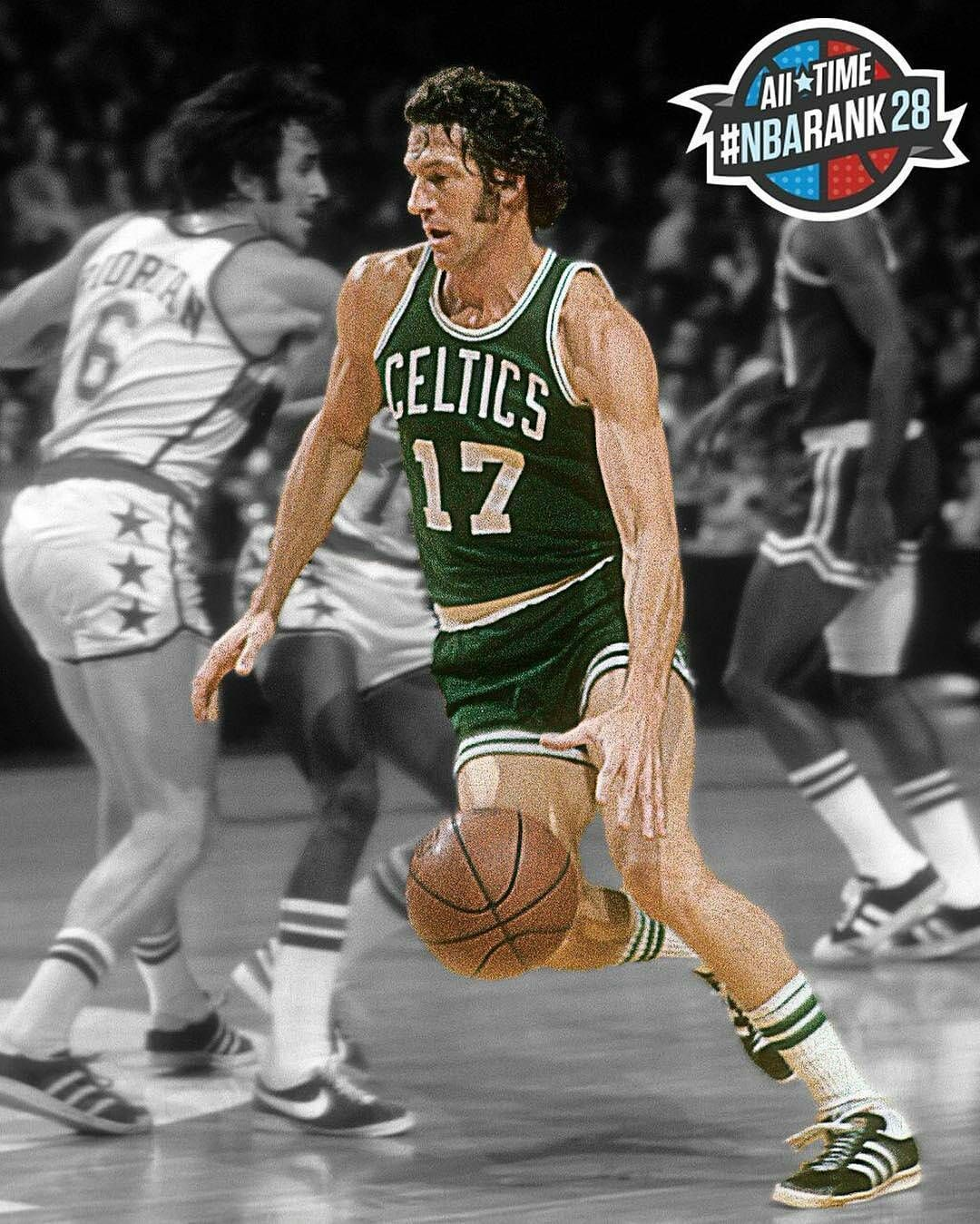 @Regrann from @nbaonespn -  8x NBA Champion John Havlicek is No. 28 in all-time #NBArank. #Regrann