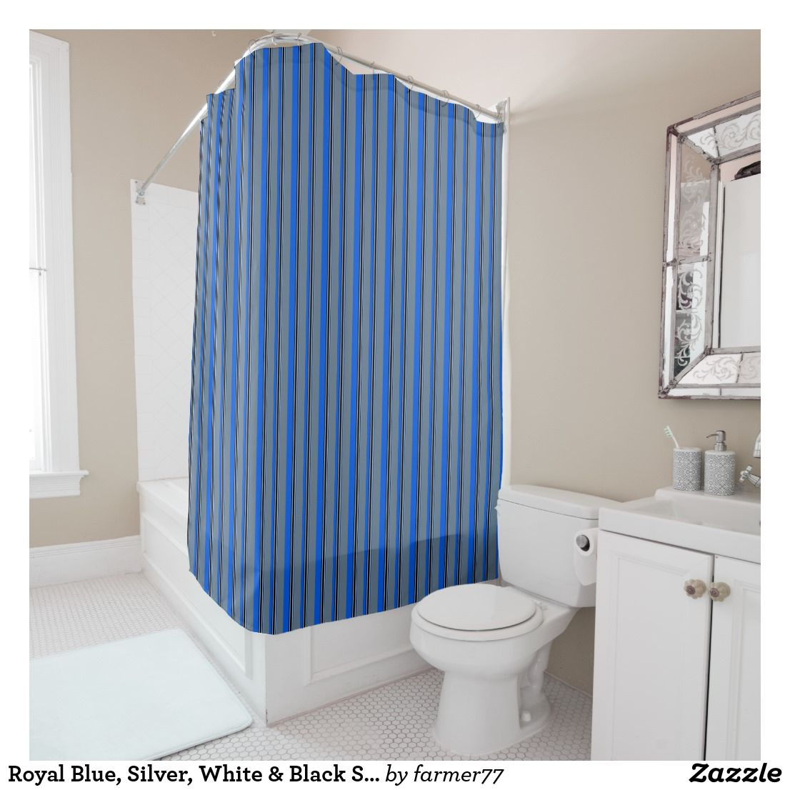 Royal Blue Silver White Black Stripes Shower Curtain Zazzle