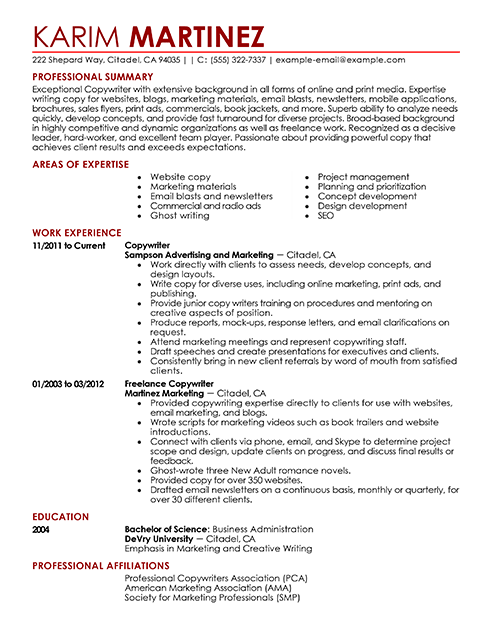 resume examples get good ideas for your taking look sample prohibited without the consent best resumes - Sample Ad Copywriter Resume